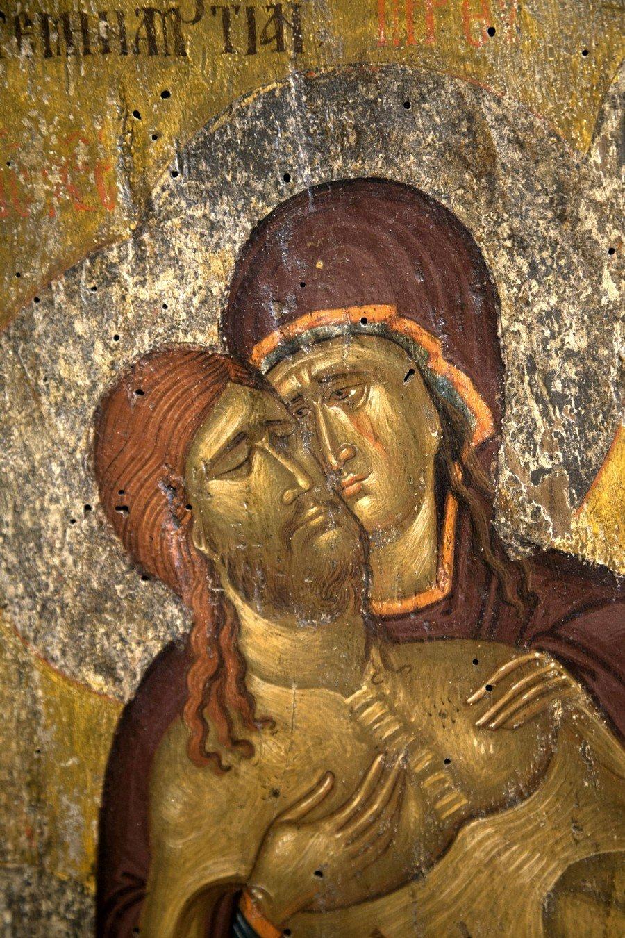 Снятие со Креста. Византийская икона начала XV века. Византийский музей в Кастории, Греция. Фрагмент.