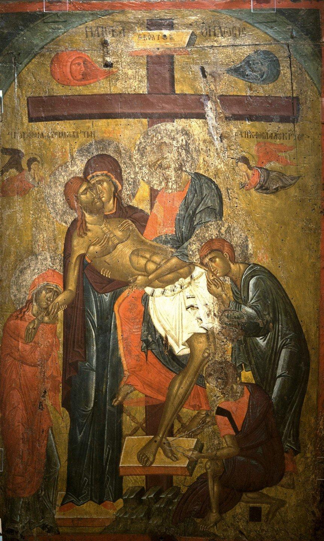 Снятие со Креста. Византийская икона начала XV века. Византийский музей в Кастории, Греция.