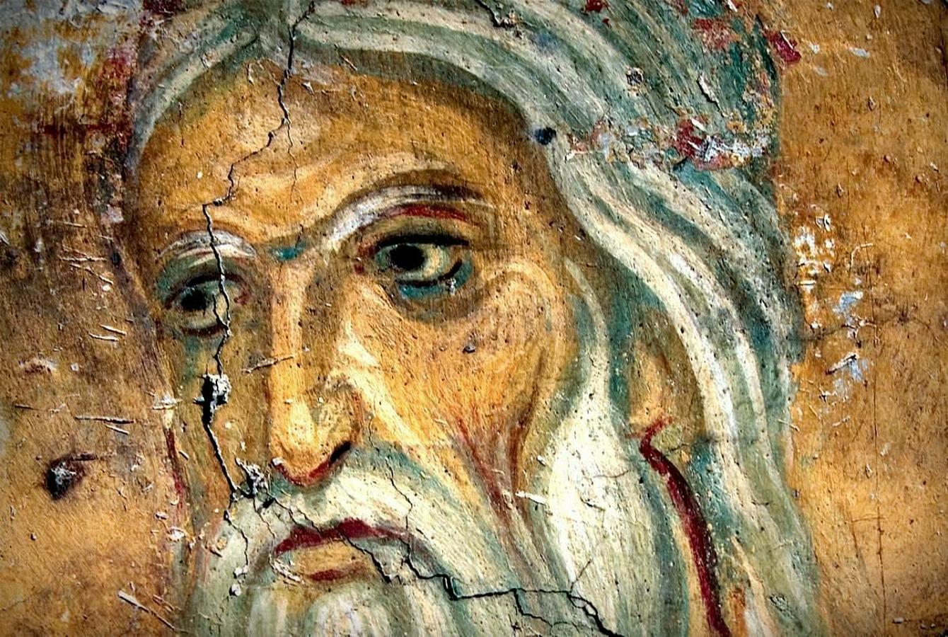 Распятие Господне. Фреска церкви Богородицы в монастыре Студеница, Сербия. 1208 - 1209 годы. Фрагмент. Святой Пророк Исаия, предсказывавший о страданиях Спасителя.