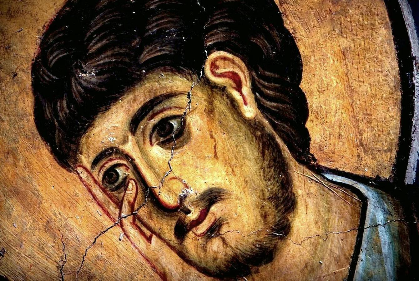 Распятие Господне. Фреска церкви Богородицы в монастыре Студеница, Сербия. 1208 - 1209 годы. Фрагмент. Святой Апостол Иоанн Богослов.