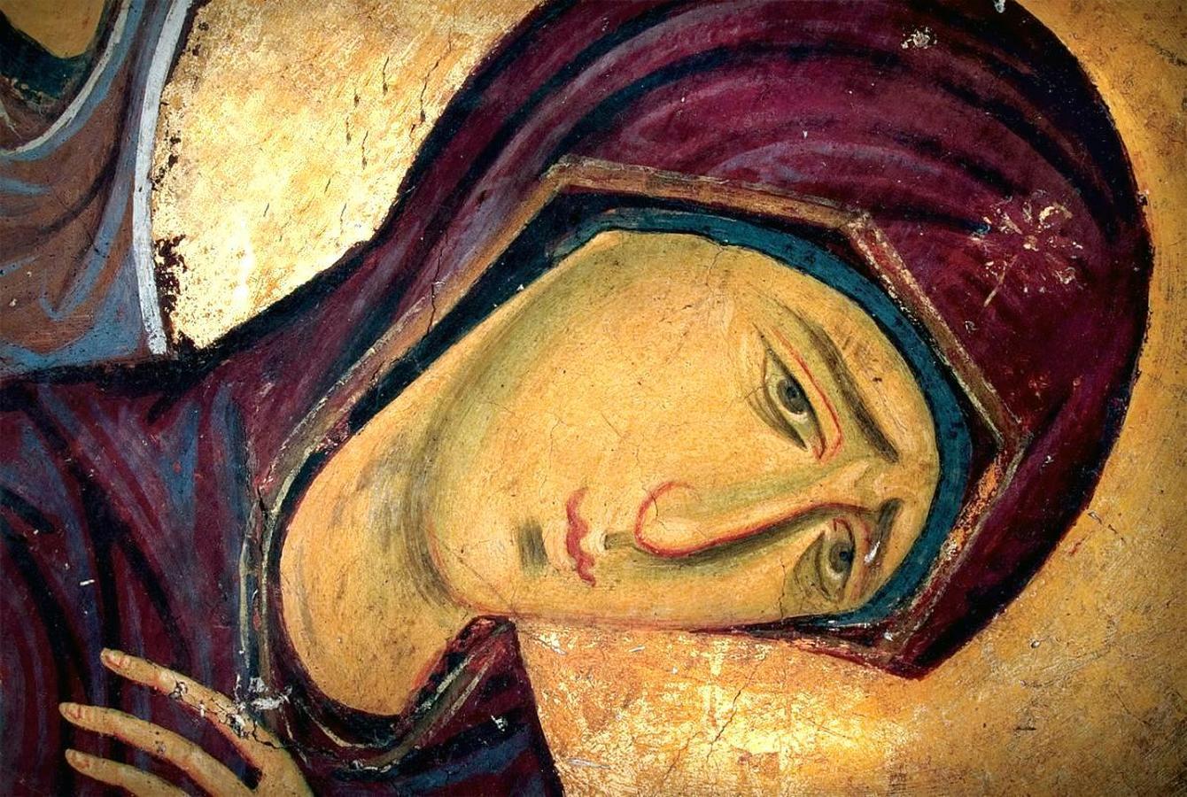Распятие Господне. Фреска церкви Богородицы в монастыре Студеница, Сербия. 1208 - 1209 годы. Фрагмент. Пресвятая Богородица.