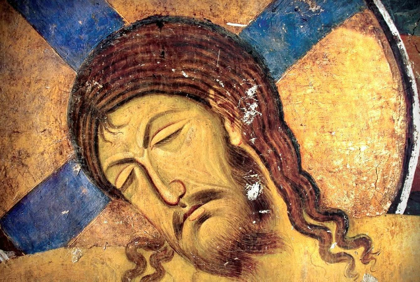Распятие Господне. Фреска церкви Богородицы в монастыре Студеница, Сербия. 1208 - 1209 годы. Фрагмент.