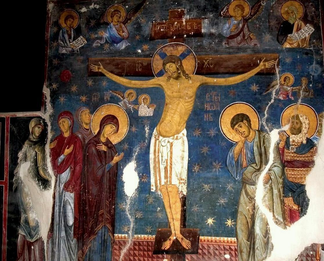 Распятие Господне. Фреска церкви Богородицы в монастыре Студеница, Сербия. 1208 - 1209 годы.