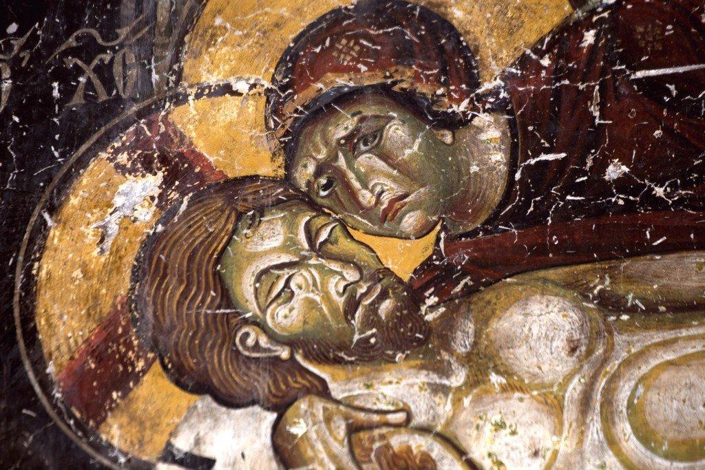 Положение во гроб (Оплакивание Христа). Фреска церкви Святых Врачей в Кастории, Греция. Конец XII века. Фрагмент.