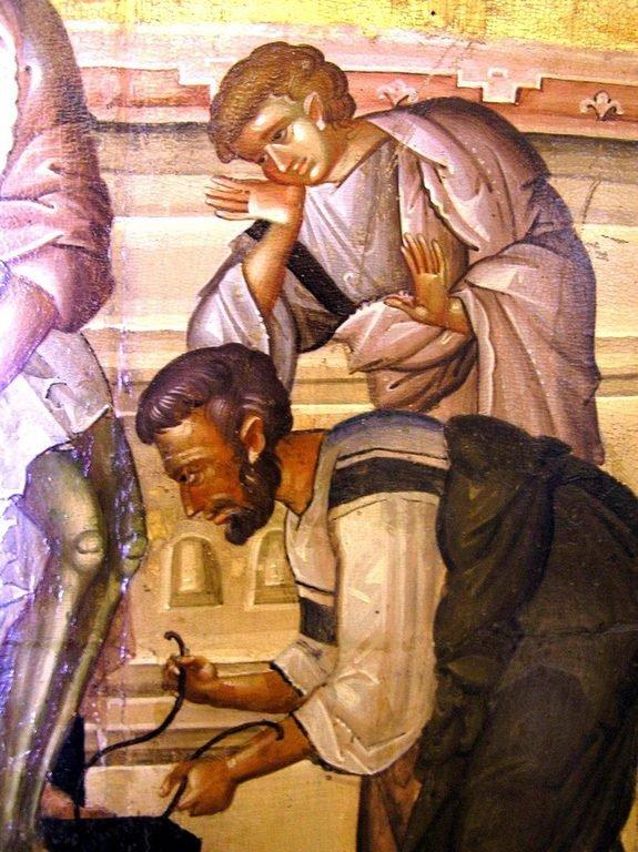 Снятие со Креста. Византийская икона XIV века. Монастырь Святого Иоанна Предтечи близ Серр, Греция. Фрагмент.
