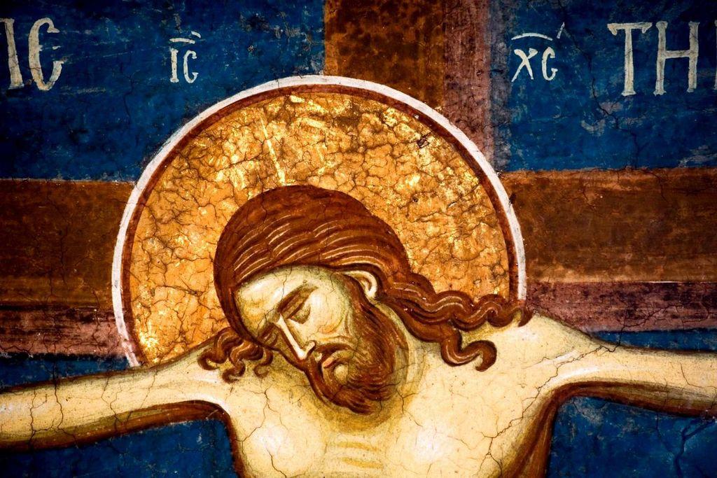 Распятие Господне. Фреска монастыря Высокие Дечаны, Косово, Сербия. Около 1350 года.