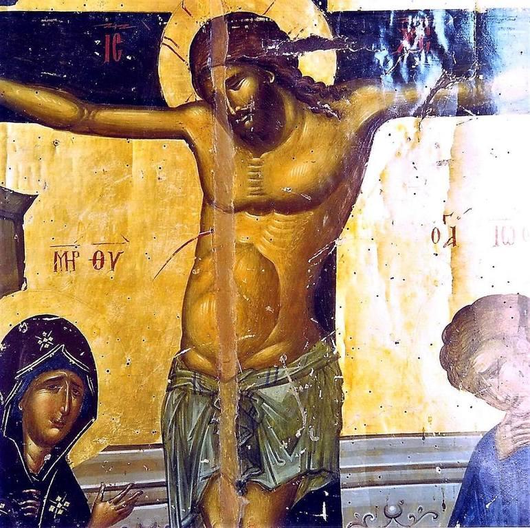 Распятие Господне. Византийская икона в Великой Лавре Святого Афанасия на Афоне. Фрагмент.