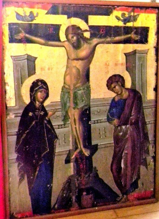 Распятие Господне. Византийская икона в Великой Лавре Святого Афанасия на Афоне.