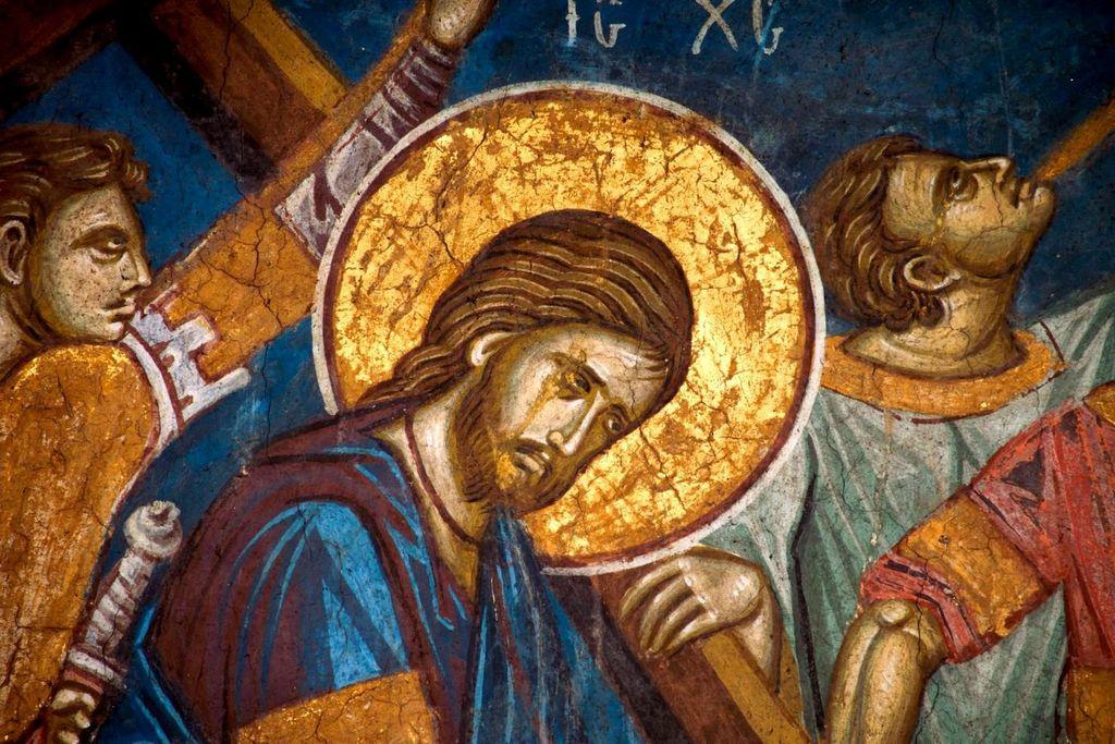 Несение Креста. Фреска монастыря Высокие Дечаны, Косово, Сербия. Около 1350 года. Фрагмент.