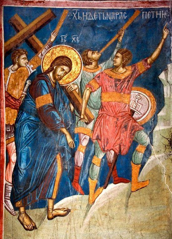 Несение Креста. Фреска монастыря Высокие Дечаны, Косово, Сербия. Около 1350 года.