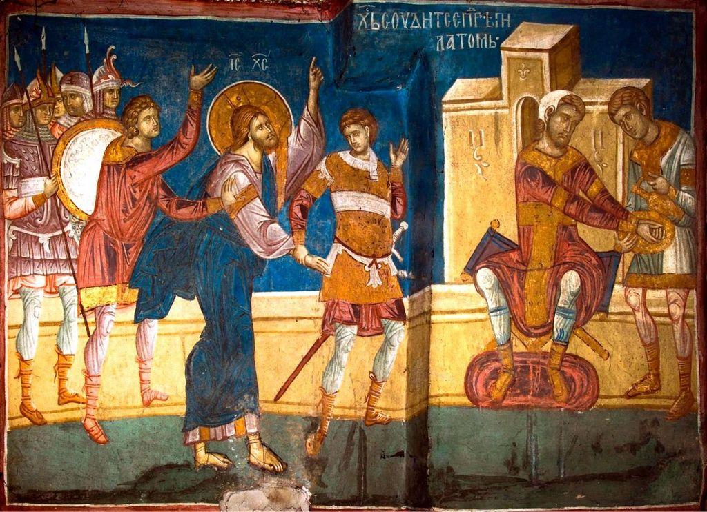 Суд Пилата. Фреска монастыря Высокие Дечаны, Косово, Сербия. Около 1350 года.