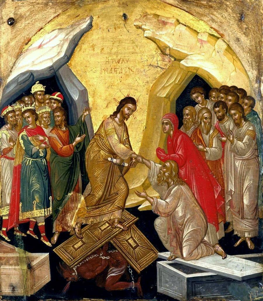 Сошествие во ад. Старинная греческая икона.