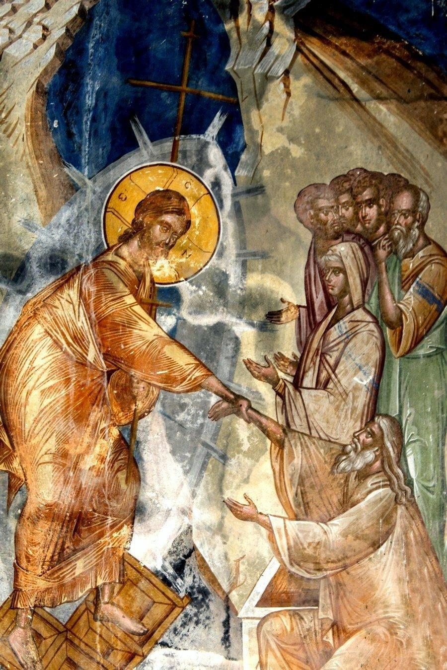 Сошествие во ад. Фреска церкви Святого Георгия в монастыре Гелати, Грузия. 1561 - 1578 годы. Фрагмент.
