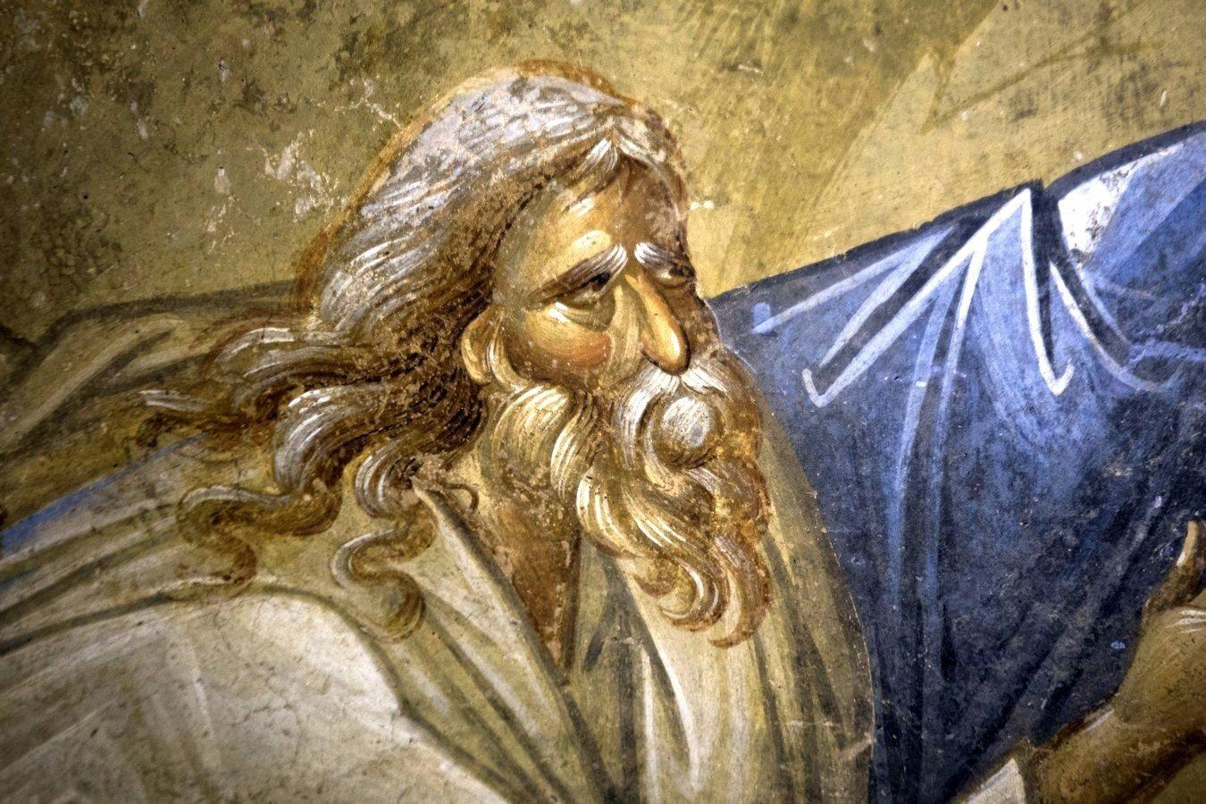 Сошествие во ад. Фреска монастыря Хора в Константинополе. 1315 - 1321 годы. Фрагмент. Праотец Адам, вызволяемый Спасителем из ада.