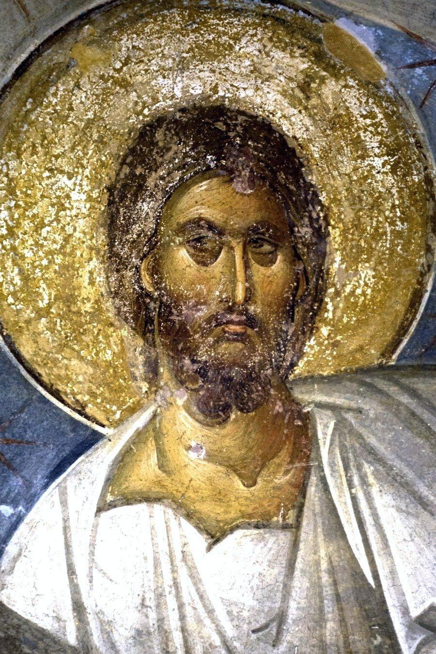 Сошествие во ад. Фреска монастыря Хора в Константинополе. 1315 - 1321 годы. Фрагмент. Лик Спасителя.