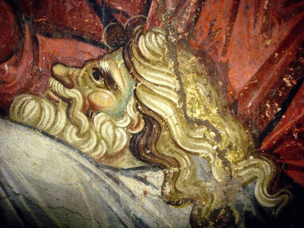 Сошествие во ад. Фреска храма Протатон (Протат) в Карее на Афоне. Конец XIII века. Иконописец Мануил Панселин. Фрагмент. Праотец Адам, вызволяемый Спасителем из ада.