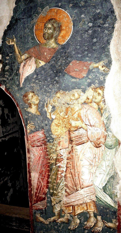 Явление Воскресшего Христа Апостолам. Фреска церкви Богородицы Левишки в Призрене, Косово и Метохия, Сербия. Около 1310 - 1313 годов. Иконописцы Михаил Астрапа и Евтихий.