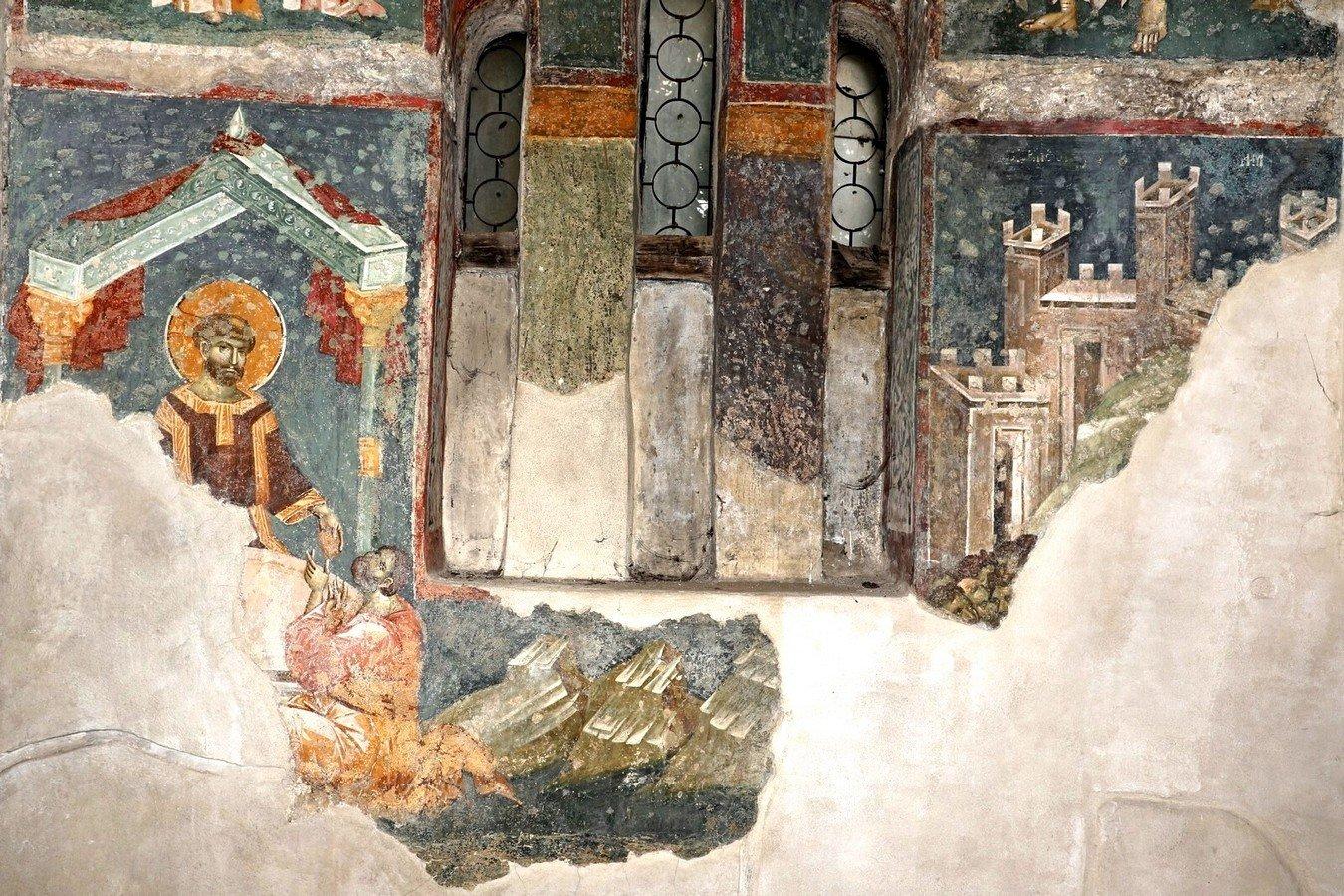 Воскресший Христос преломляет хлеб в Эммаусе. Фреска церкви Богородицы Левишки в Призрене, Косово и Метохия, Сербия. Около 1310 - 1313 годов. Иконописцы Михаил Астрапа и Евтихий.