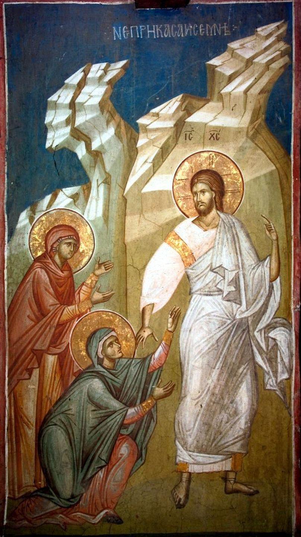 Явление Воскресшего Христа женам-мироносицам. Фреска монастыря Высокие Дечаны, Косово и Метохия, Сербия. До 1350 года.