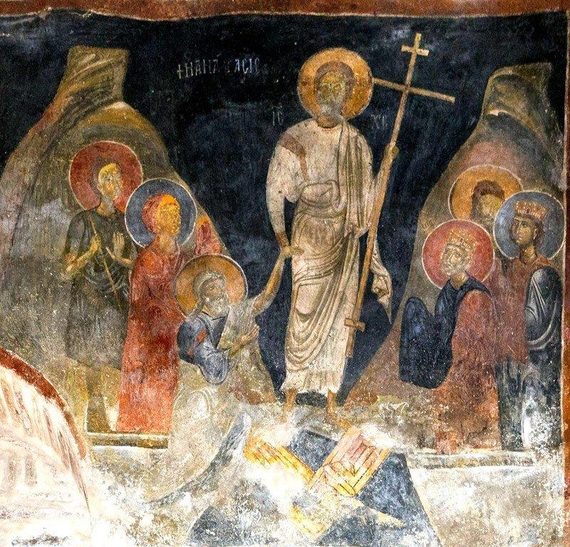 Сошествие во ад. Фреска церкви Святого Стефана в Кастории, Греция. Конец XII - начало XIII веков.