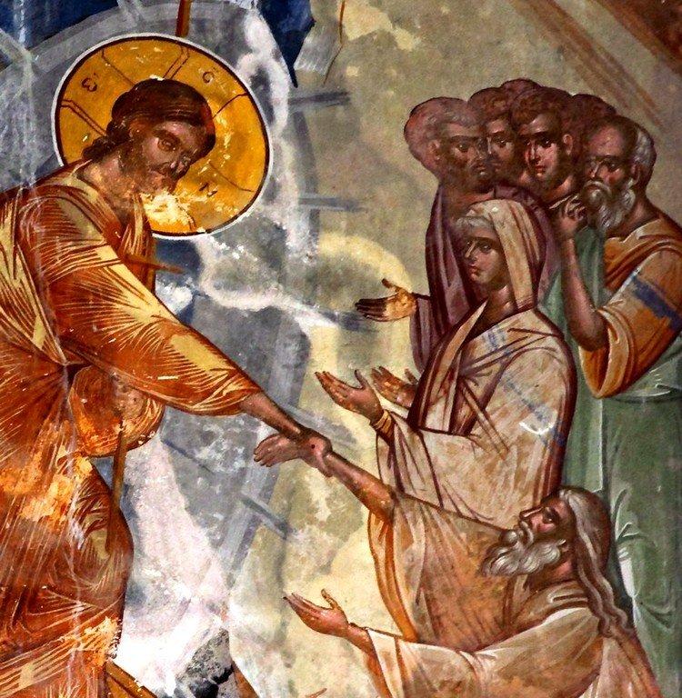 Сошествие во ад. Фреска церкви Святого Георгия в монастыре Гелати, Грузия. XVI век. Фрагмент.