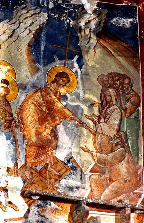 Сошествие во ад. Фреска церкви Святого Георгия в монастыре Гелати, Грузия. XVI век.