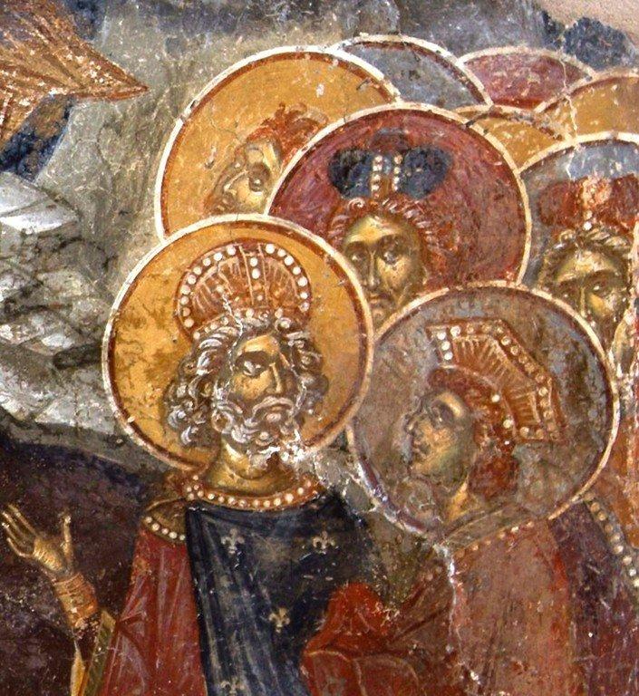 Сошествие во ад. Фреска церкви Святого Афанасия ту Музаки в Кастории, Греция. 1383 - 1384 годы. Фрагмент.