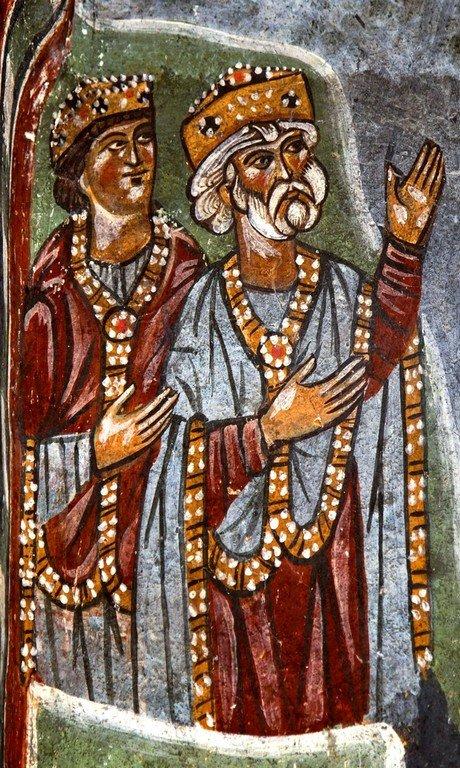 Сошествие во ад. Фреска церкви Преображения Господня в Лагами, Сванетия, Грузия. XIII век. Фрагмент.