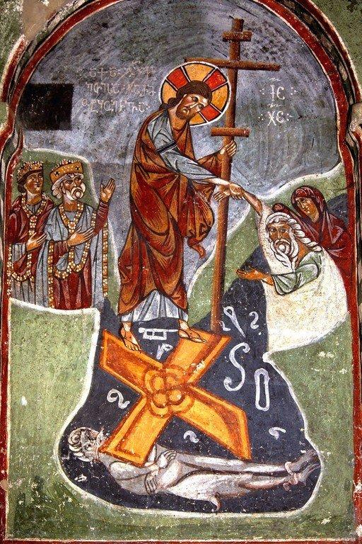 Сошествие во ад. Фреска церкви Преображения Господня в Лагами, Сванетия, Грузия. XIII век.