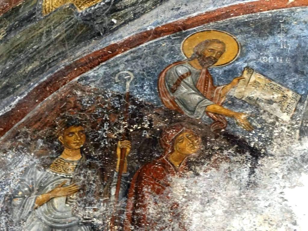 Сошествие во ад. Византийская фреска в церкви Евангелистрия в Гераки, Греция. Фрагмент.