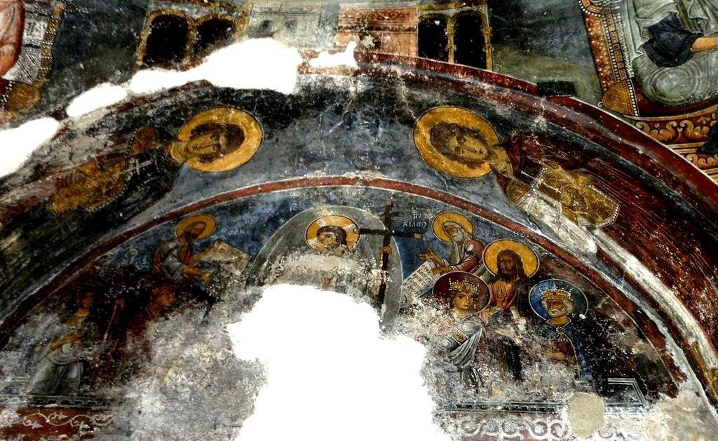 Сошествие во ад. Византийская фреска в церкви Евангелистрия в Гераки, Греция.