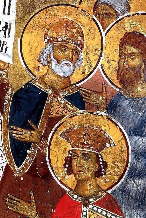 Сошествие во ад. Фреска монастыря Сретения Господня в Метеорах, Греция. 1366 - 1367 годы. Фрагмент.