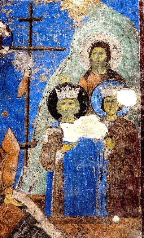 Сошествие во ад. Фреска церкви Святого Николая в монастыре Кинцвиси, Грузия. Начало XIII века. Фрагмент.