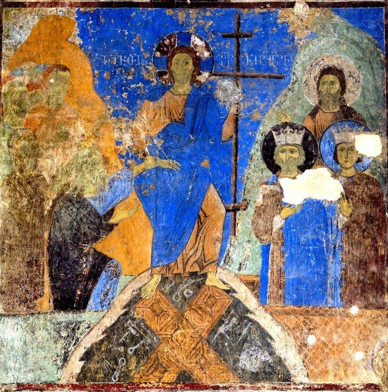 Сошествие во ад. Фреска церкви Святого Николая в монастыре Кинцвиси, Грузия. Начало XIII века.
