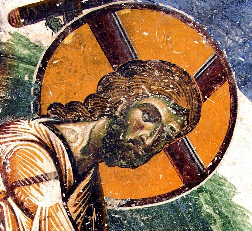 Сошествие во ад. Фреска церкви Святого Георгия в Курбиново, Македония. 1191 год. Лик Спасителя.