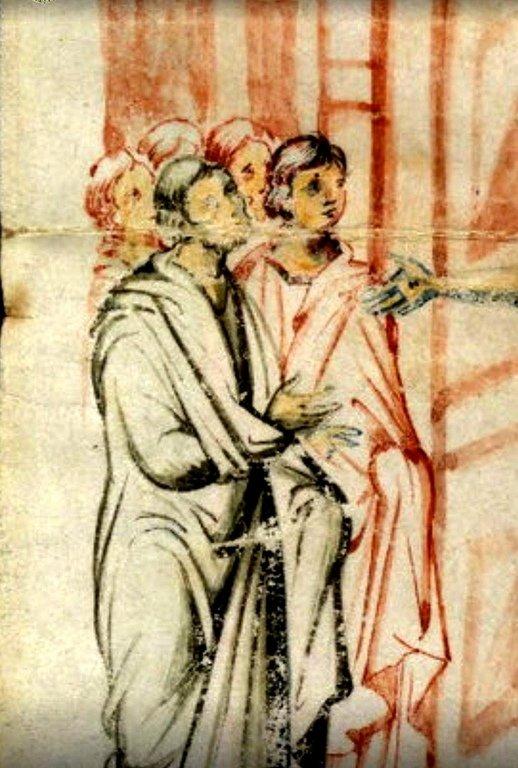 """Явление Воскресшего Христа Апостолам (""""Мир вам!""""). Византийская миниатюра. Фрагмент."""