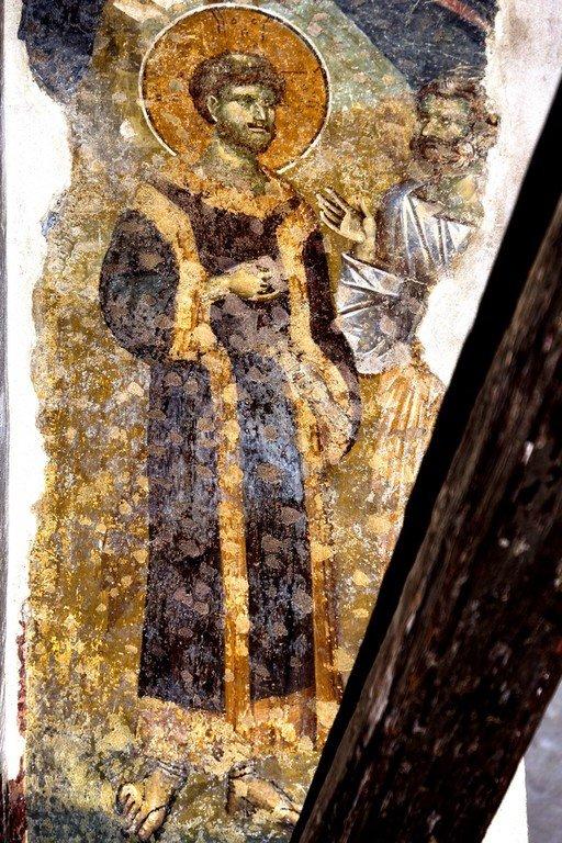 Воскресший Христос на пути в Эммаус. Фреска церкви Богородицы Левишки в Призрене, Косово, Сербия. Около 1310 - 1313 годов. Иконописцы Михаил Астрапа и Евтихий.