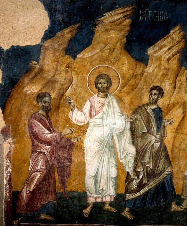 Явление Воскресшего Христа Апостолам Луке и Клеопе на пути в Эммаус. Фреска церкви Богоматери Одигитрии в монастыре Печская Патриархия, Косово, Сербия. 1330-е годы.