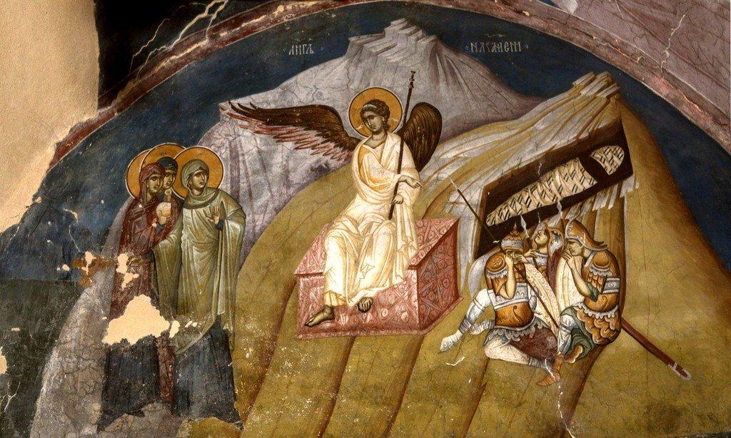 Ангел Господень возвещает женам-мироносицам о Воскресении Христовом. Фреска церкви Богоматери Одигитрии в монастыре Печская Патриархия, Косово, Сербия. 1330-е годы.