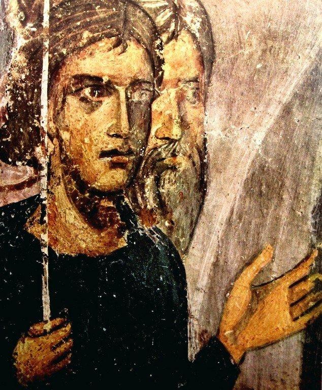 Сошествие во ад. Фреска церкви Святых Николая и Пантелеимона (Боянской церкви) близ Софии, Болгария. Фрагмент.