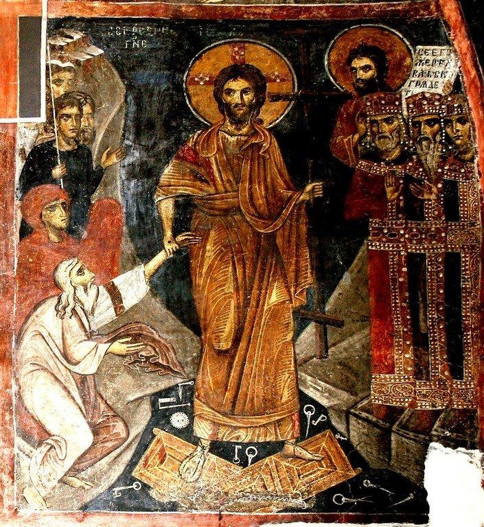 Сошествие во ад. Фреска церкви Святых Николая и Пантелеимона (Боянской церкви) близ Софии, Болгария.