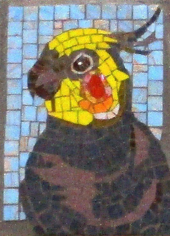 Попугай корелла. Мозаика.