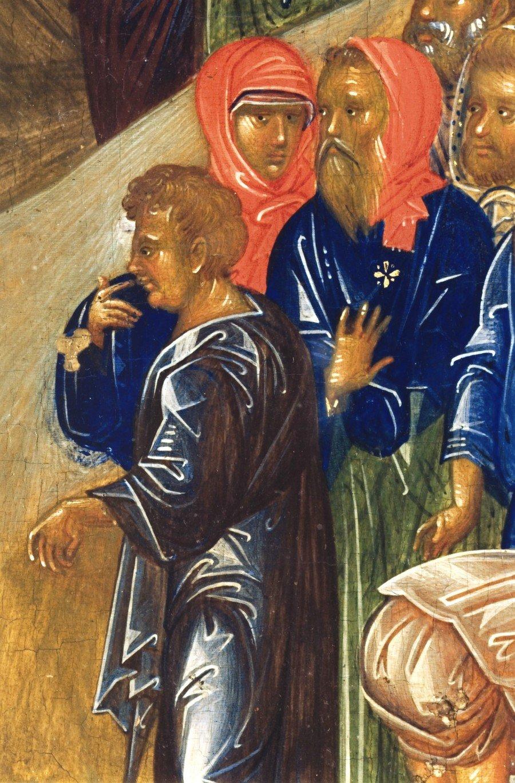 Воскрешение Праведного Лазаря. Византийская икона конца XIV - начала XV века. ГРМ. Фрагмент.