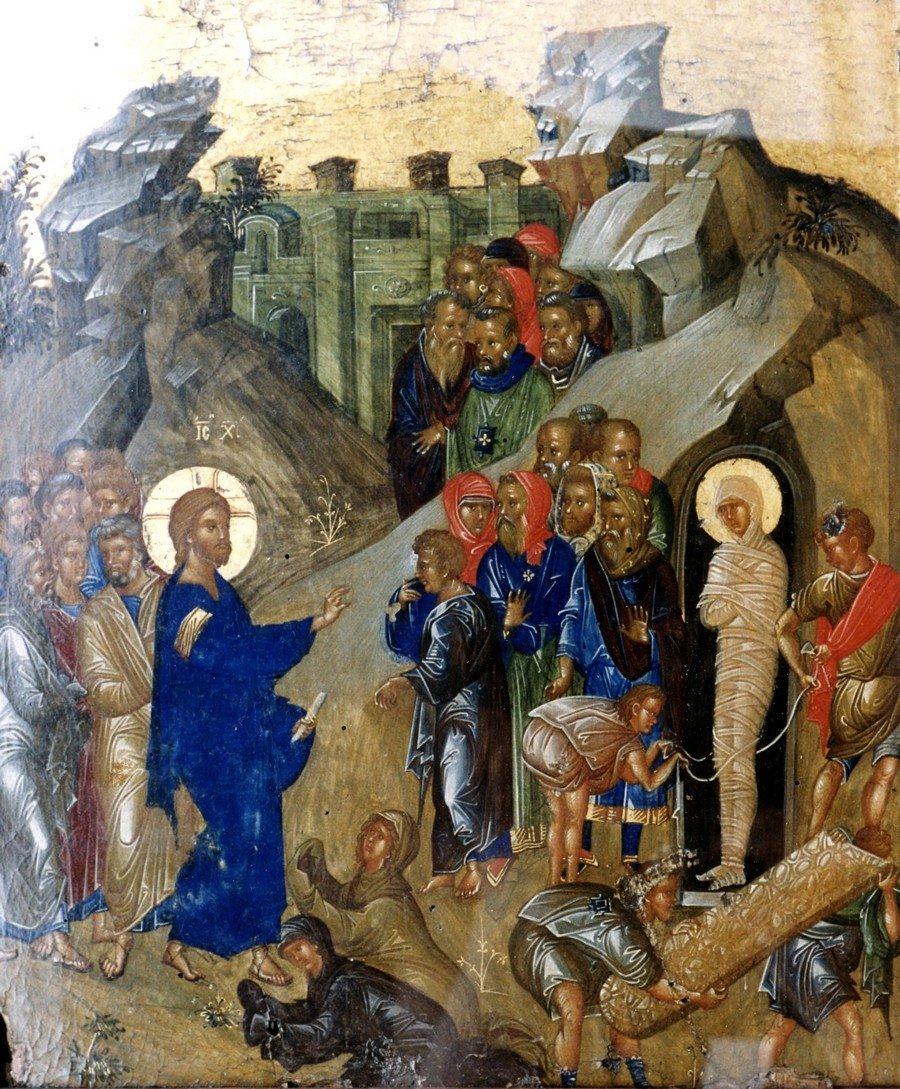 Воскрешение Праведного Лазаря. Византийская икона конца XIV - начала XV века. ГРМ.