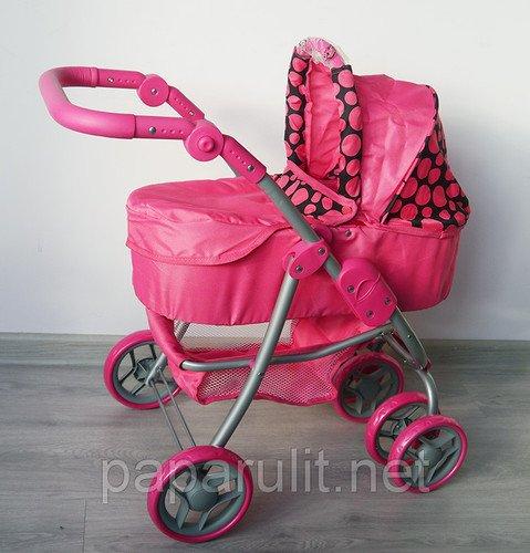 Коляска для кукол Buggy Boom Amidea 8567А Розовая с горошинами