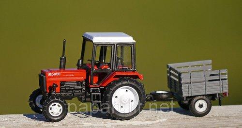 Игрушечный трактор Беларус МТЗ-82 металл с прицепом борт