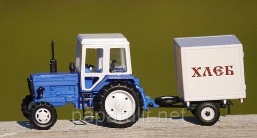 Игрушечный Трактор Беларус с прицепом будка Хлеб