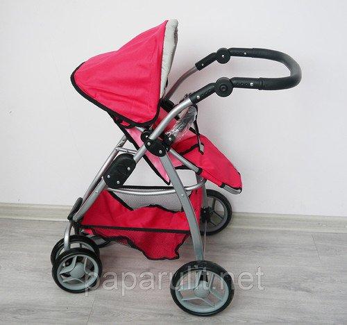 Коляска Melobo 9662 розовая с красными вставками
