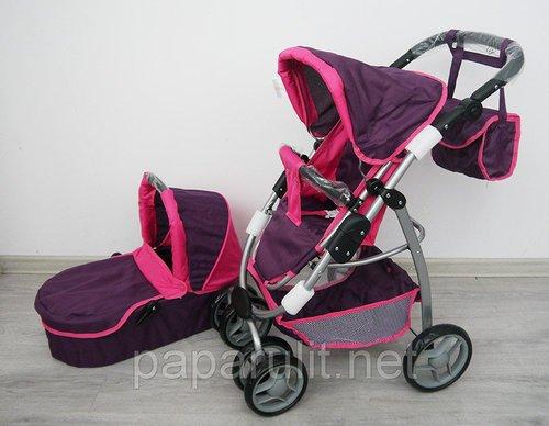 Кукольная коляска с сумочкой фиолетовая