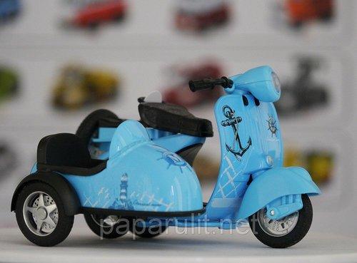 Мотороллер с коляской игрушечный морской